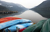 Kayaks at Lake Crescent Lodge, Olympic National Park, near Port Angeles, Washington USA
