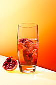 Tall Orange Drink With Blood Orange and Ice