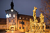 Old Town Hall with crucifixion group, Bamberg, Franken, Bavaria, Germany, Europe, UNESCO World Heritage Site