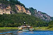 Steamboat on Elbe river, Bastei, Elbe Sandstone mountains, Saxon Switzerland, Saxony, Germany, Europe