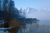 Lake Kochelsee with Herzogstand mountain in winter, Alps, Upper Bavaria, Bavaria, Germany