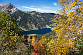 View on lake Vilsalpsee and Gaishorn in fall, Drei Seen Tour, Tannheim Valley, Alps, Austria, Europe