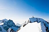 Moumtaineer at Piz Roseg, Upper Engadin, Canton of Grisons, Switzerland
