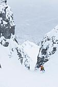 Downhill skiing through, Herzogstand, Kochel am See, Bavaria, Germany
