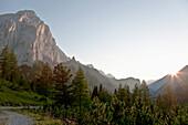 View from the Hallerangerhaus towards the Hinterau Valley, small Lafatscher wrapped in evening light, Isar origin, Hallerangerhaus, Hinterau Valley, Scharnitz, Karwendel, Tyrol, Austria