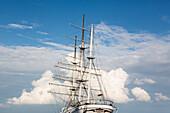 Sailing ship in Stralsund harbor, mast of Gorch Fock 1, Stralsund, Ruegen, Mecklenburg-West Pomerania, Germany