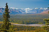 Scenic view of Alaska Range and Eldridge Glacier, Autumn, Southcentral, Alaska