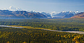 Panoramic view of Mt. McKinley, Chulitna River, and Eldridge Glacier, Autumn, Southcentral, Alaska
