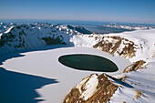 Aerial of Crater Lake atop Mount Katmai Trident Volcano Katmai National Park Southwest Alaska Summer