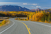 Scenic view of the Alaska Highway between Haines, Alaska and Haines Junction, Yukon Territory, Canada, Autumn