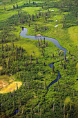 Aerial of tundra w/small creek & beaver dam lower Kuskokwim River Western Alaska Summer