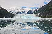 Scenic view of Surprise Glacier reflected in the waters of Prince William Sound, Harriman Fjord, Southcentral Alaska, Summer