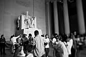 Tourists Viewing Statue of Abraham Lincoln Inside Lincoln Memorial, Washington, DC, USA
