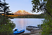 Mount Adams, a stratovolcano at over 12, 000 feet in the Cascade Mountain Range of Washington State, USA, reflected in Lake Takhlakh, in the Gifford Pinchot National Forest
