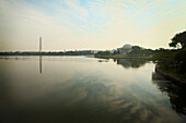 The Jefferson Memorial and Washington Monument and the lake in the centre of Washington