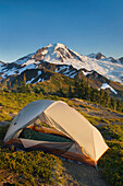 Backcountry campsite on Skyline Divide overlooking the landscape of  Mount Baker Wilderness, in the North Cascades region of  Washington State