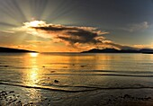 Isle Of Arran, Argyll And Bute, Kilbride Bay, Scotland, Sunset Over Beach