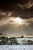 North Yorkshire, England, Sun Shining Over Sepia-Toned Winter Landscape