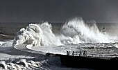 Seaham, England, Stormy Waves Pounding Seawall