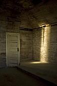Dorothy, Alberta, Canada, Light Shining Into The Interior Of A Chapel
