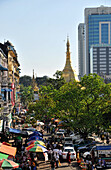 Street market with parking slot, view from New Aye Yar hotel on the oldtown, Yangon, Myanmar, Burma, Asia