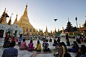 People praying in front of the Shwedagon Pagoda, Yangon, Myanmar, Burma, Asia