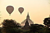 Sula-mani Temple with balloons, Bagan, Myanmar, Burma, Asia