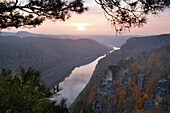 View from the Bastei towards the river Elbe, Saxon Switzerland National Park, Elbe Sandstone Mountains, Saxony, Germany