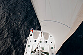 few from the mast of an catatamaran in the caribbean