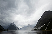 blocked for illustrated books in Germany, Austria, Switzerland: Milford Sound after rain, after a storm, dramatic cloud formation, Fiordland National Park, South Island, New Zealand