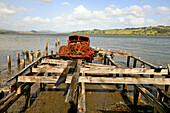 blocked for illustrated books in Germany, Austria, Switzerland: Rusty old American pickup truck on the jetty, forgotten, Hokianga Harbour, Northland, New Zealand