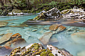 blocked for illustrated books in Germany, Austria, Switzerland: Turquoise, clear mountain water along the Routeburn Track, a Great Walk, South Island, New Zealand