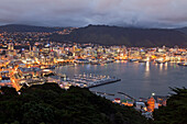 blocked for illustrated books in Germany, Austria, Switzerland: Night view of the capital city Wellington from Victoria Peak, Harbour, Wellywood, Wellington, North Insland, New Zealand