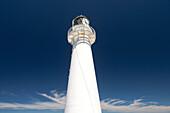 weißer Leuchtturm am Castle Point, blauer Himmel, Wolkenstrukturen, Wellington Region, Nordinsel, Neuseeland