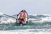 Surf boat competition, lifeguards competition, Day of the Giants, Piha Beach, North Island, New Zealand