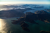 Aerial view of bays and islands at Marlborough Sounds, South Island, New Zealand
