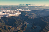 Aerial view of bays and islands near Picton, Marlborough Sounds, South Island, New Zealand