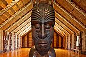 Maori traditional meeting house at Waitangi, carved meeting house representing all tribes, Maori Culture, Te Whare Runanga, North Island, New Zealand