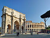 Arch of Constantine in front of Colosseum, Arch of Constantine, UNESCO World Heritage Site Rome, Rome, Latium, Lazio, Italy