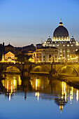 St Peter´s basilica above the river Tiber at night, illuminated, UNESCO World Heritage Site Rome, Rome, Latium, Lazio, Italy