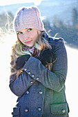 Young woman feeling cold, Styria, Austria