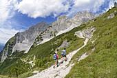 Ascent via Klamml to Gruttenhuette, Ellmauer Halt, Wilder Kaiser, Tyrol, Austria
