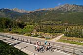 view from Algund towards Meran, Couple on electric bikes, E-bikes, South Tyrol, Italy
