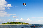 Kite surfer at Mahina Venus Point, Tahiti, Society Islands, French Polynesia, Windward Islands, South Pacific