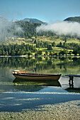 Fishing boat at Lake Bohinj, Triglav National Park, Julian Alps, Gorenjska, Slovenia