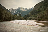 River at Soca valley around Bovec, Julian Alps, Primorska, Slovenia