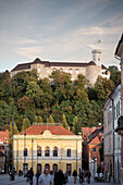 Cityview with opera and castle on hill, landmark of capital Ljubljana, Slovenia