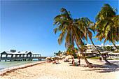 Beach area at luxury hotel Reach Resort, Key West, Florida Keys, USA