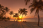 Strand bei Sonnenaufgang im The Moorings Village Resort, Islamorada, Florida Keys, Florida, USA