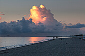 Morning impression on the beach with thunderstorm clouds, South Beach, Miami, Florida, USA